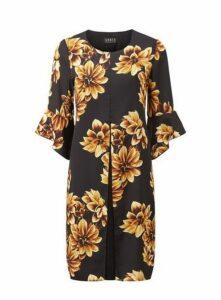 **Grace Yellow Floral Print Shift Chiffon Dress, Black