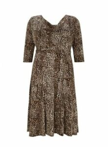 **Scarlett And Jo Brown Leopard Print Dress, Mid Brown