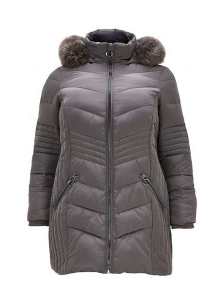 Grey Padded Faux Fur Coat, Grey