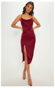 Burgundy Strappy Satin Cowl Midi Dress, Red