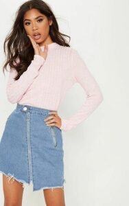Baby Pink Long Sleeve High Neck Top, Pink