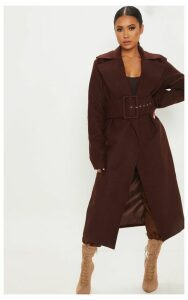 Petite Chocolate Brown Belted Coat, Chocolate Brown