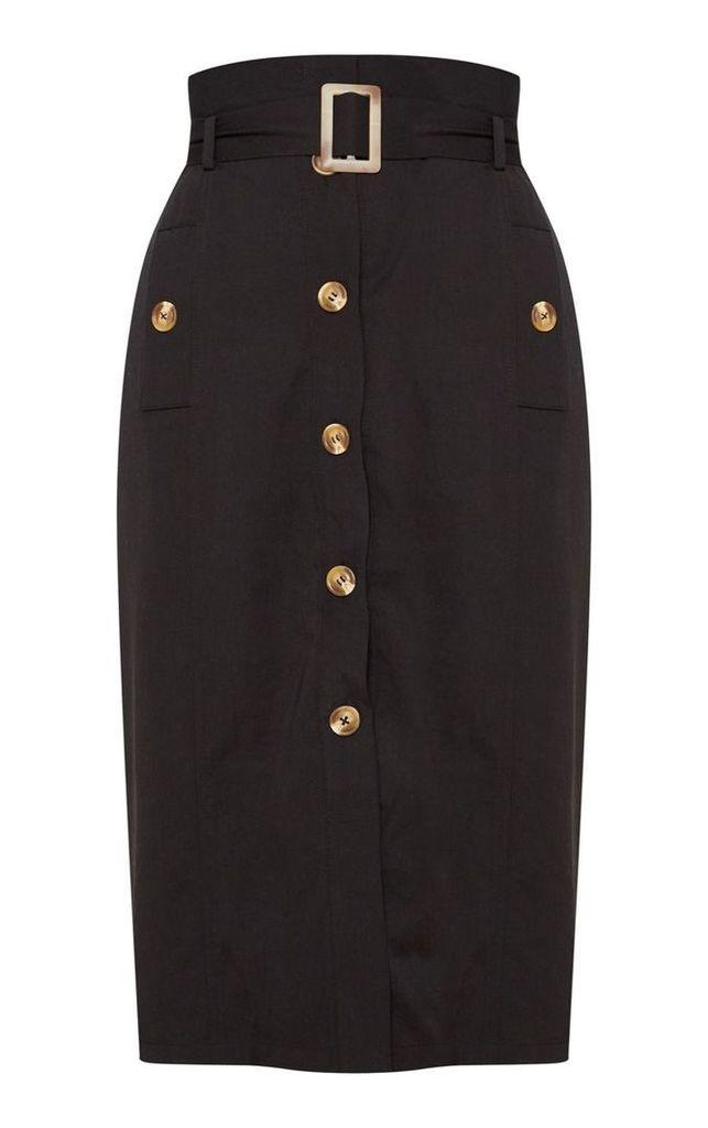 Black Belted Waist Utility Skirt, Black