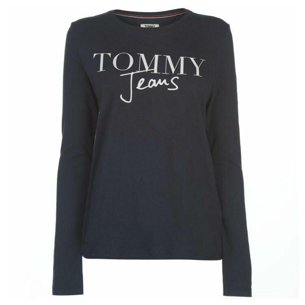 Tommy Jeans Script Logo Long Sleeve T Shirt