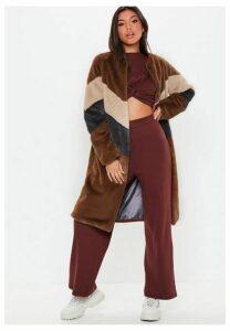 Brown Faux Fur Longline Colour Block Coat, Chocolate