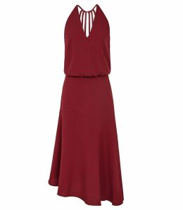 Reiss Fiona - Beaded Strappy Midi Dress in Redcurrant, Womens, Size 16