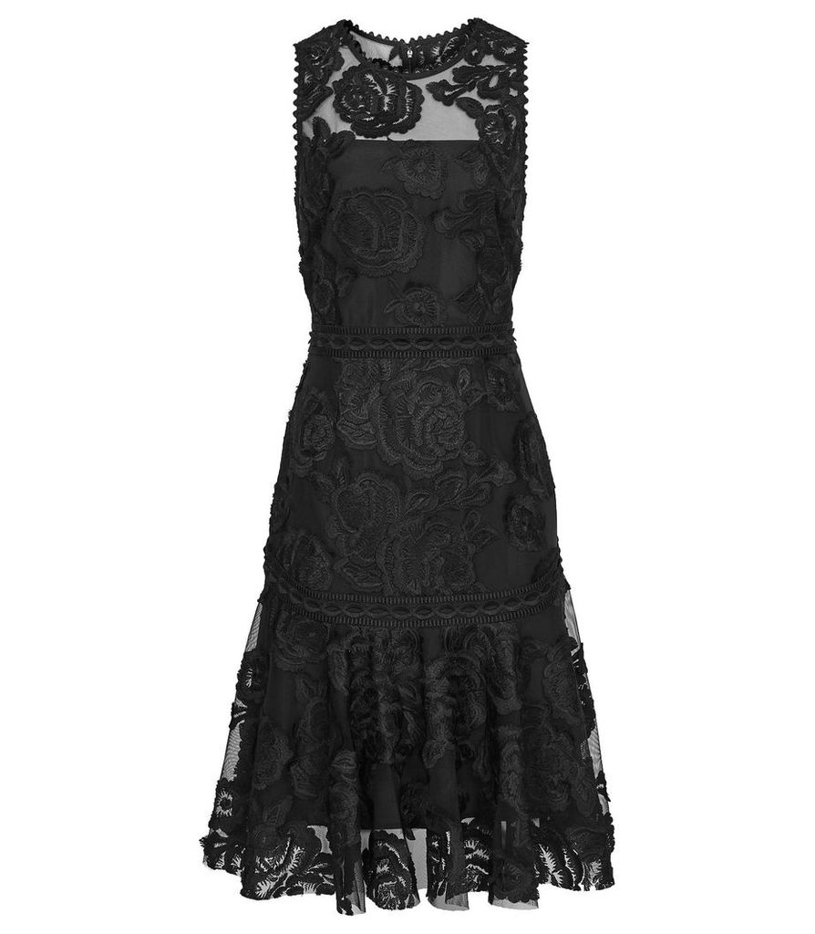 Reiss Adia - Lace Asymmetric Hem Dress in Black, Womens, Size 16