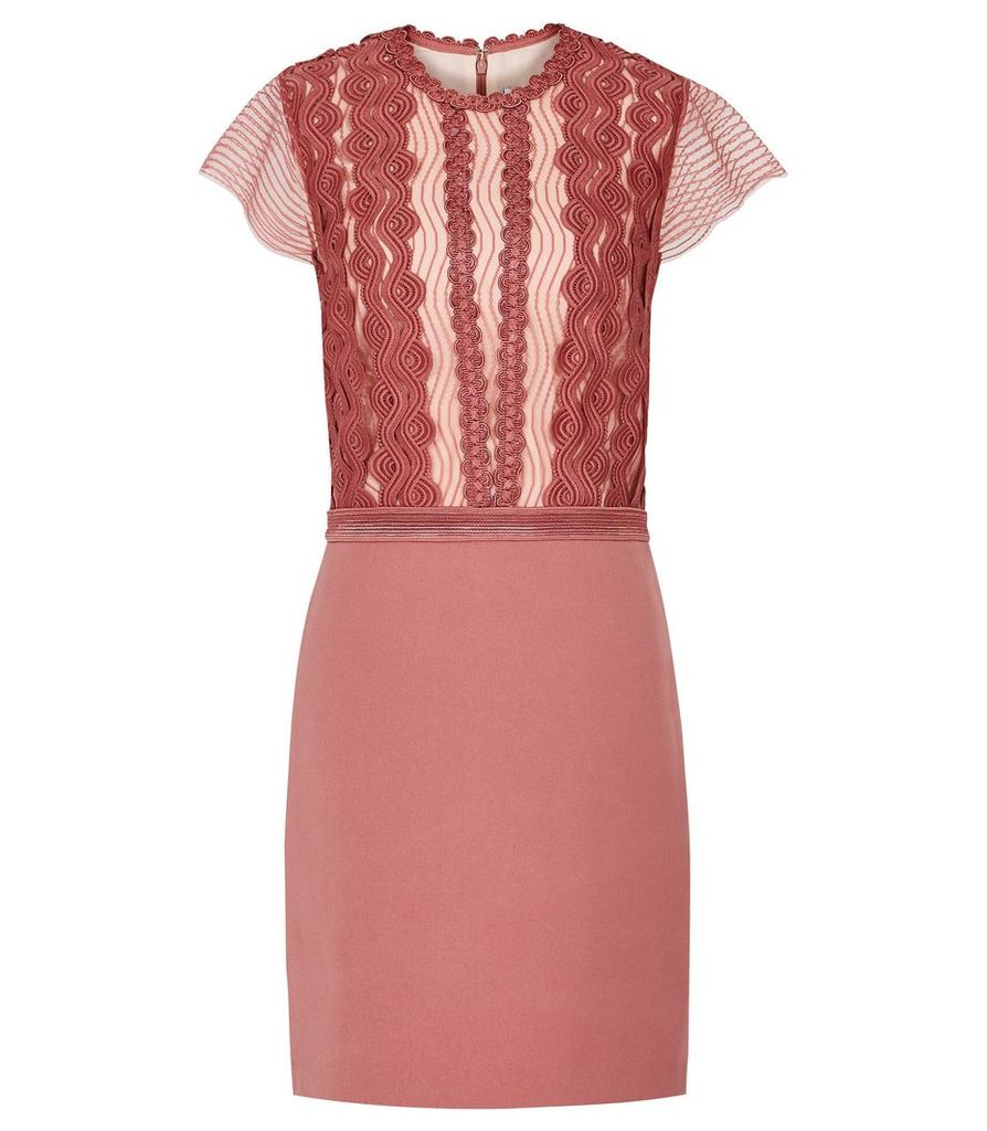 Reiss Veriana - Lace Bodice Dress in Pink, Womens, Size 16
