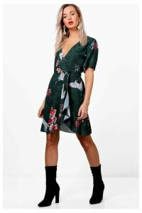 Womens Boohoo Ruffle Tea Dress -  Green