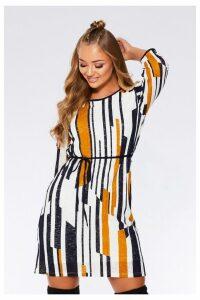 Womens Quiz Stripe Knit Tunic Dress -  Cream