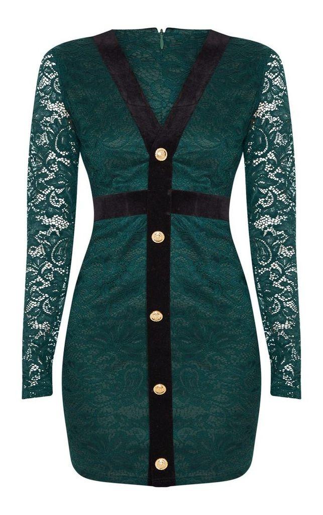Emerald Green Lace Velvet Binding Gold Button Detail Bodycon Dress, Emerald Green