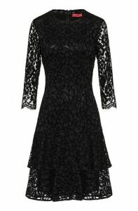 Regular-fit dress in lace with volant skirt