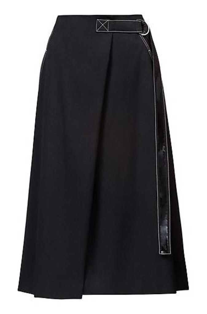 A-line skirt with trimmed belt and patch pocket