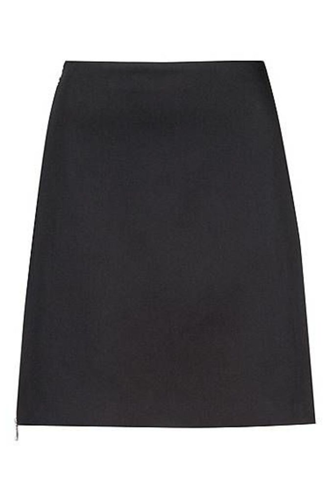 Miniskirt in stretch cotton with two-way side zip