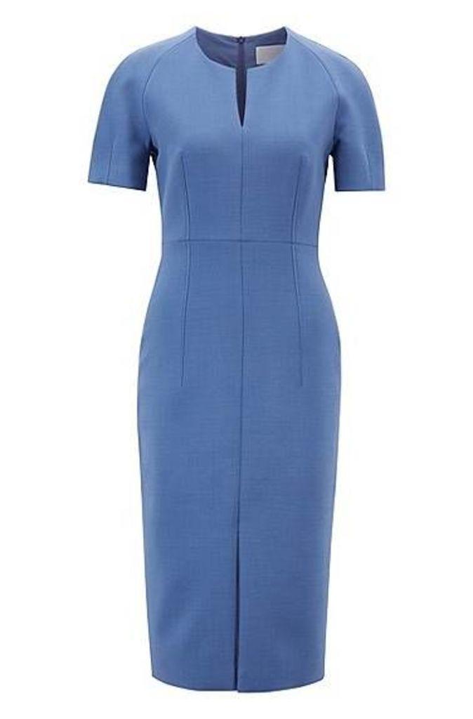 Contoured business dress in woven Italian fabric