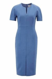 Contoured business dress in woven Italian fabric