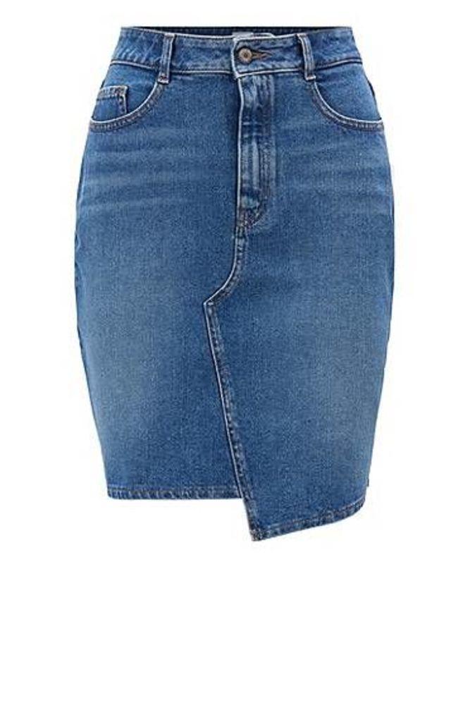 A-line denim skirt with irregular hem