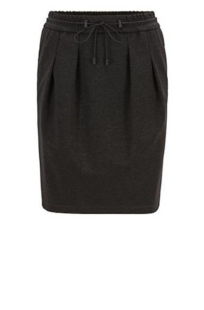 Knee-length skirt in melange jersey with drawstring waist