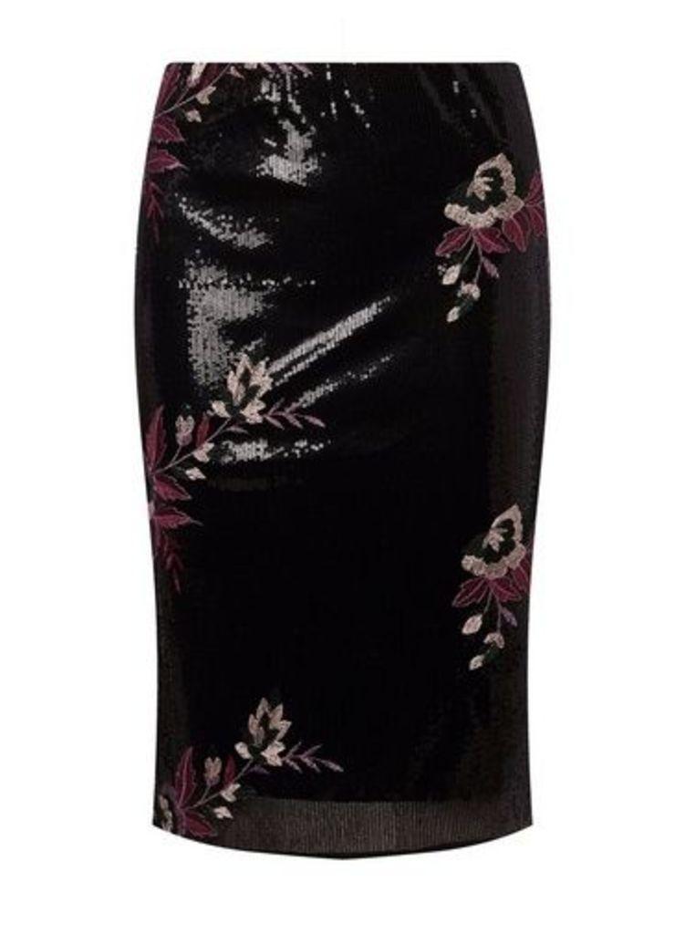 Womens Black Sequin Floral Embroidered Pencil Skirt- Black, Black