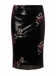Womens Black Sequin Floral Embroidered Pencil Skirt- Black, Black