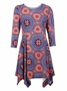 Womens *Izabel London Blue Geometric Print Hanky Hem Dress- Blue, Blue