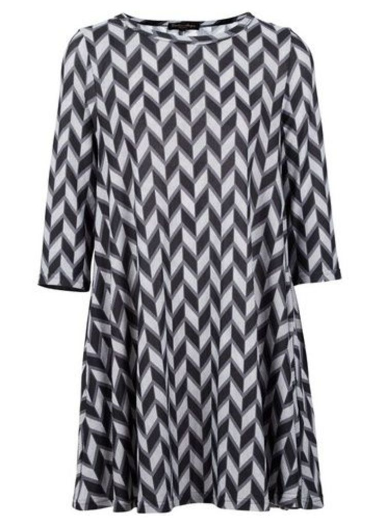 Womens *Izabel London Grey Geometric Print Swing Dress- Grey, Grey