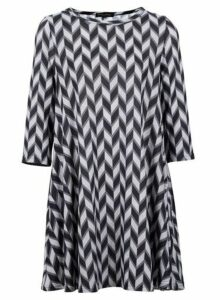 Womens *Izabel London Grey Geometric Print Swing Dress- Grey, Grey