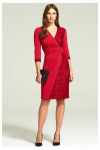 Womens HotSquash Red Lace Detail Jersey Wrap Dress -  Red