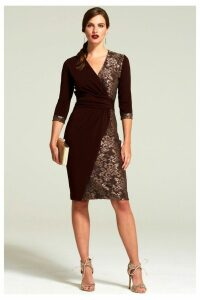 Womens HotSquash Chocolate Lace Detail Jersey Wrap Dress -  Brown