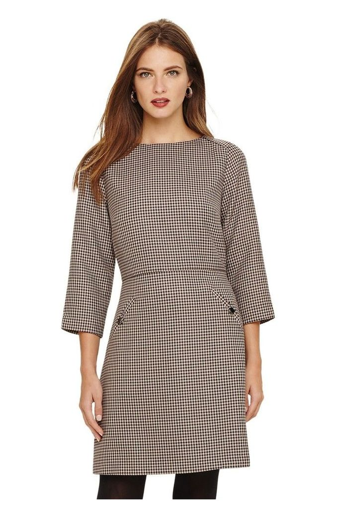 Womens Phase Eight Brown Heritage Check Dress -  White