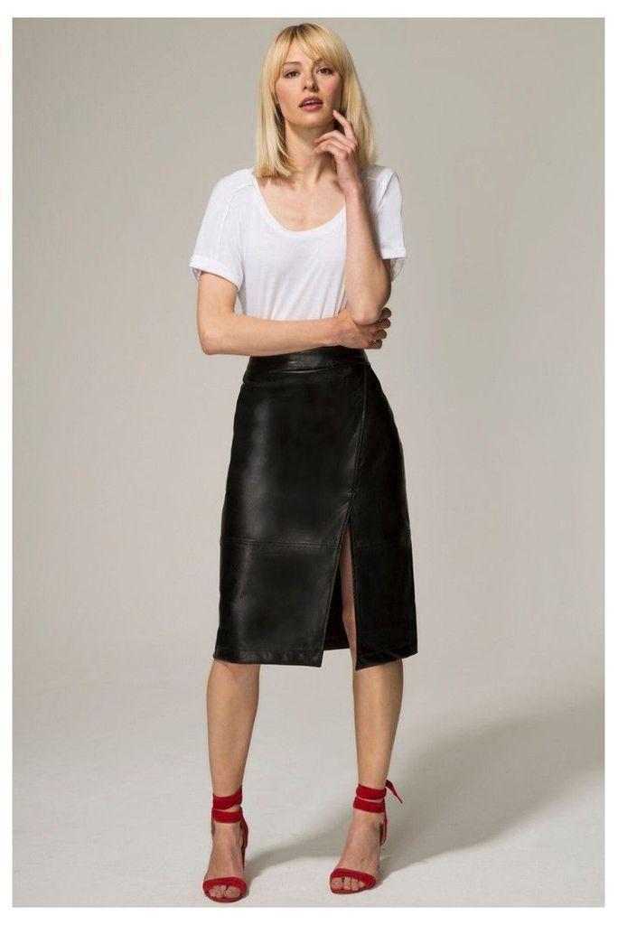 Womens HotSquash Black Leather Look Wrap Skirt -  Black