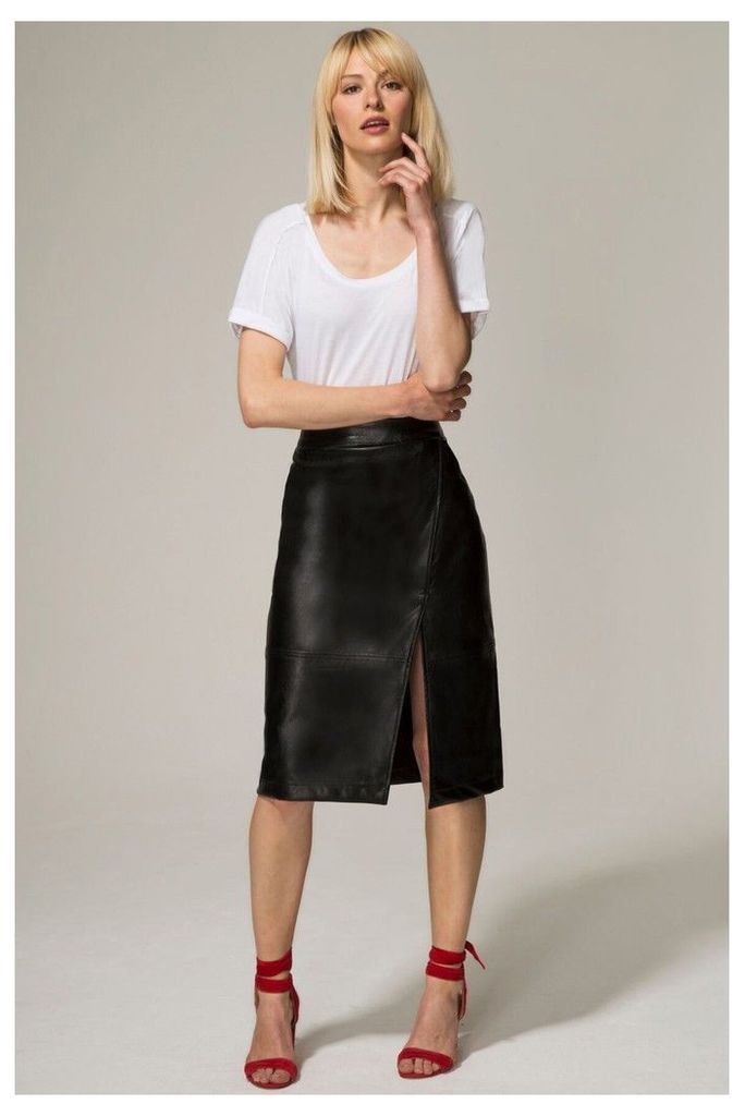 Womens HotSquash Black Leather Look Wrap Skirt -  Black