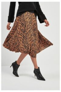 Womens Next Zebra Pleated Skirt -  Orange