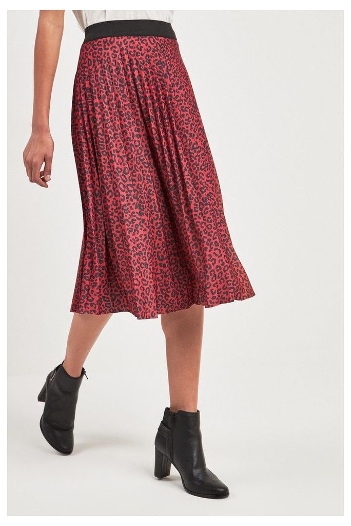 Womens Next Red Animal Pleated Skirt -  Red