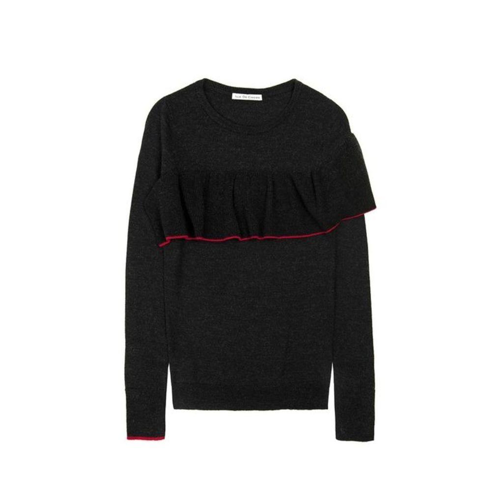 Ille De Cocos Merino Ruffle Trim Sweater - Black Marl- Cherry