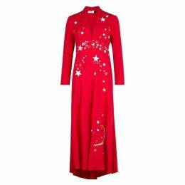 RIXO Margo Star-embroidered Midi Dress
