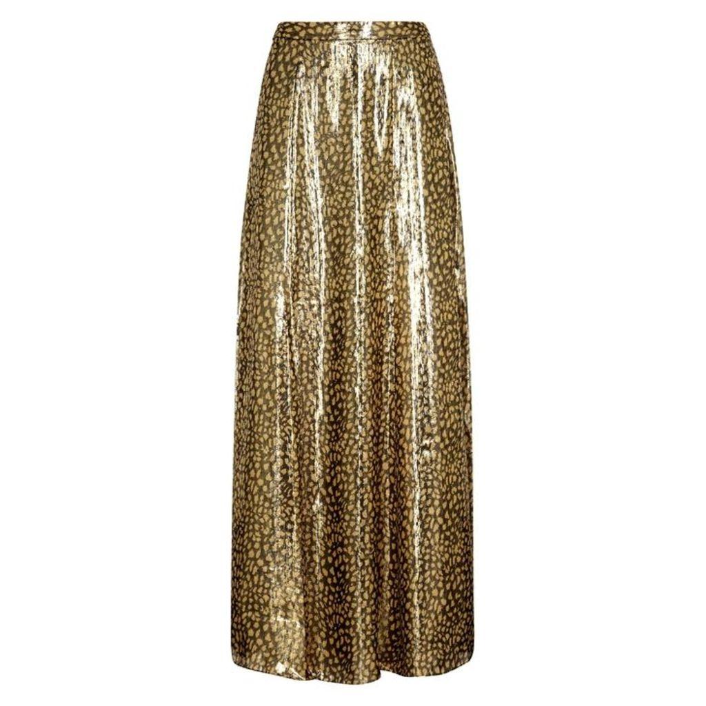 Alice + Olivia Athena Leopard-print Silk-blend Maxi Skirt