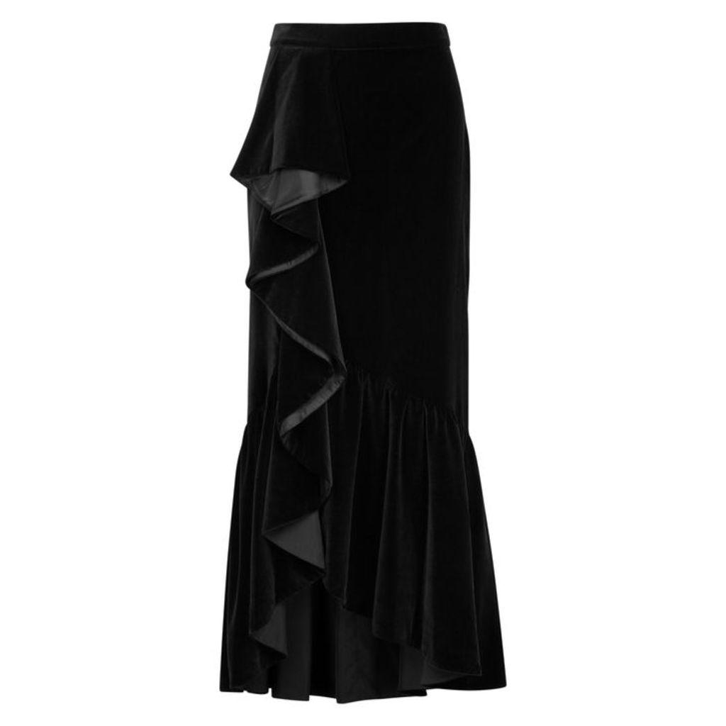 Alice + Olivia Arianna Ruffled Velvet Midi Skirt