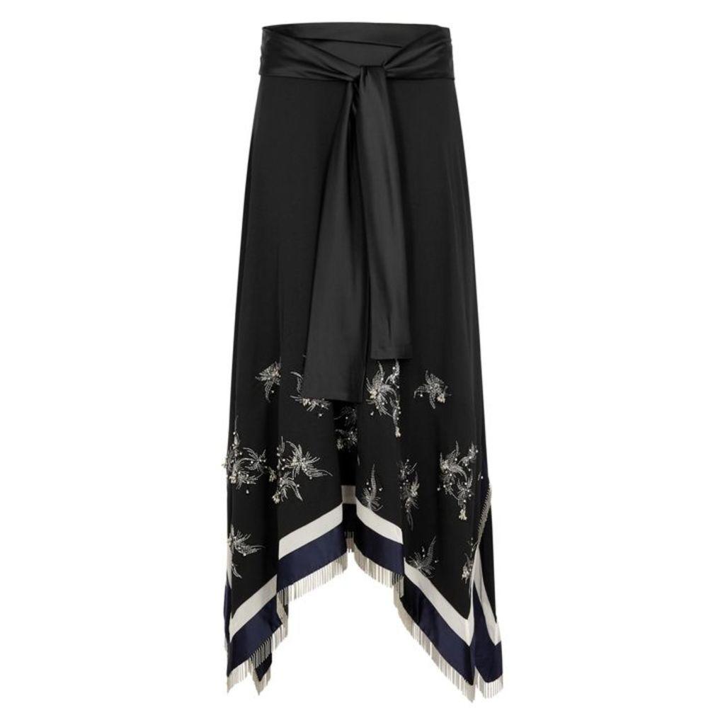 3.1 Phillip Lim Black Embellished Midi Skirt