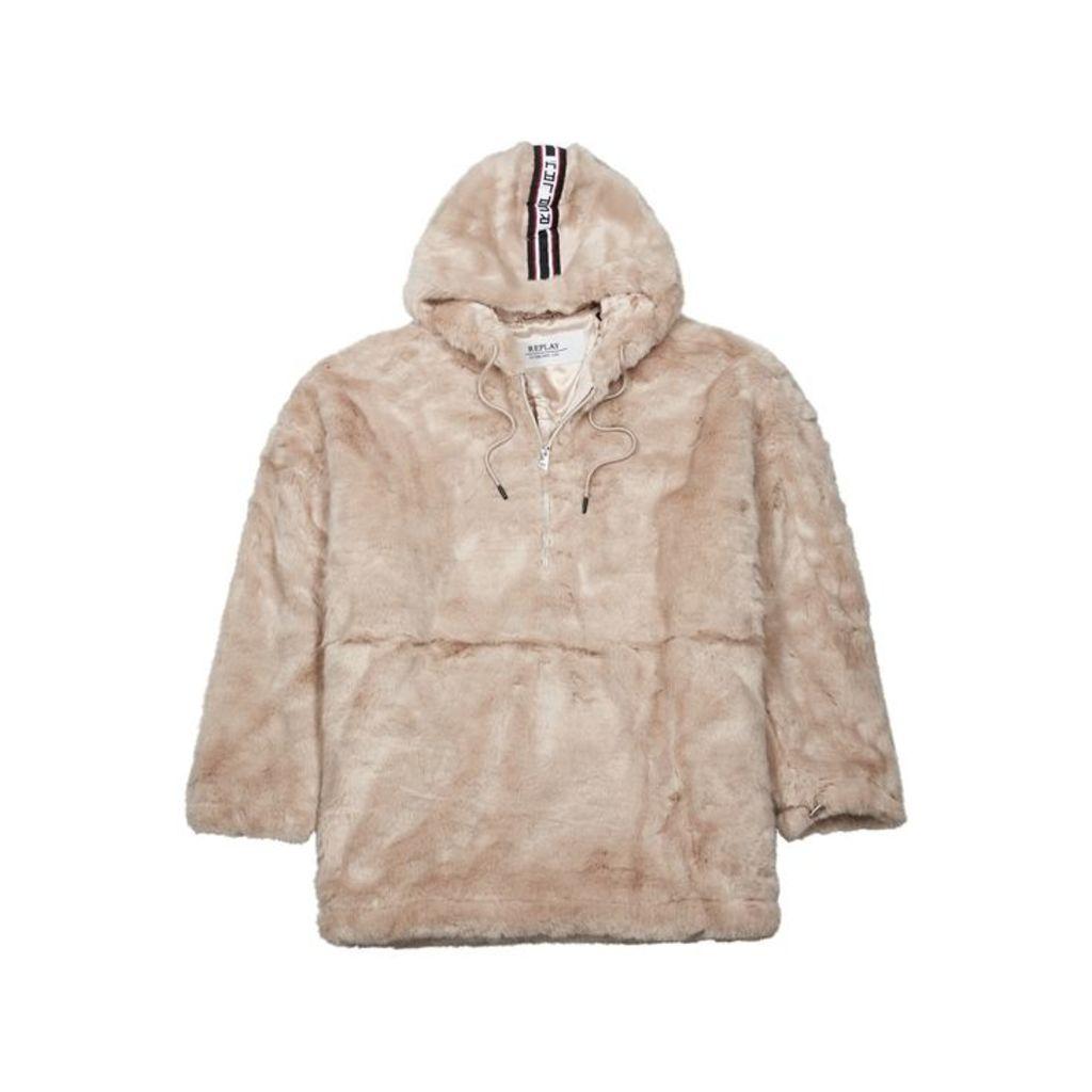 Replay Cream Faux Fur Jacket