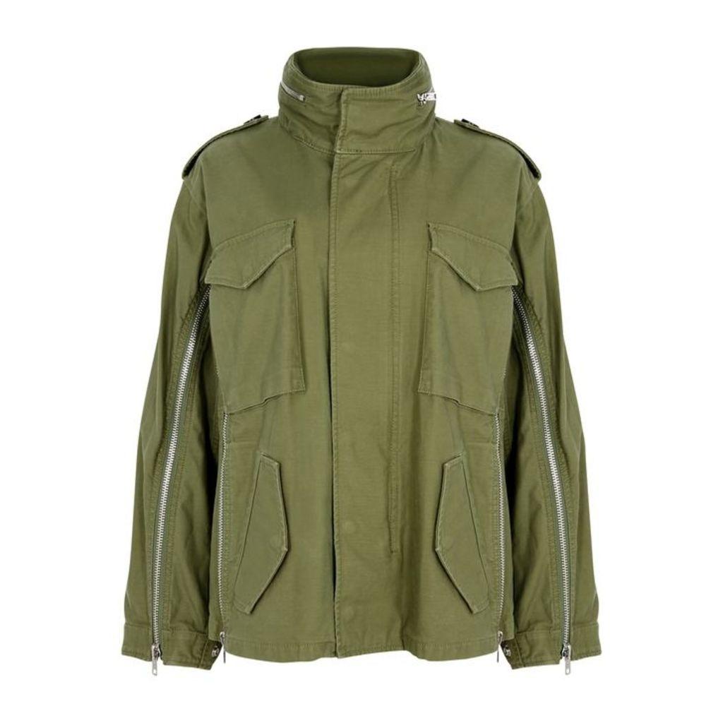 3.1 Phillip Lim Olive Zipped Cotton Jacket