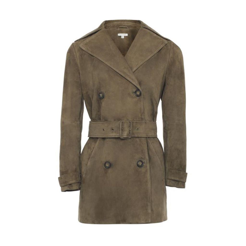 NICOLE FARHI Olive Sam Suede Trench Coat