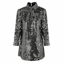 RIXO Bardot Sequin-embellished Mini Dress