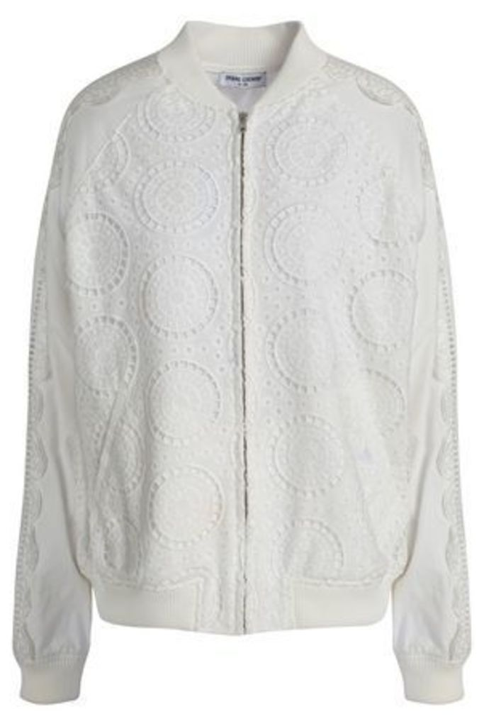 Opening Ceremony Woman Broderie Anglaise Cotton Bomber Jacket White Size L