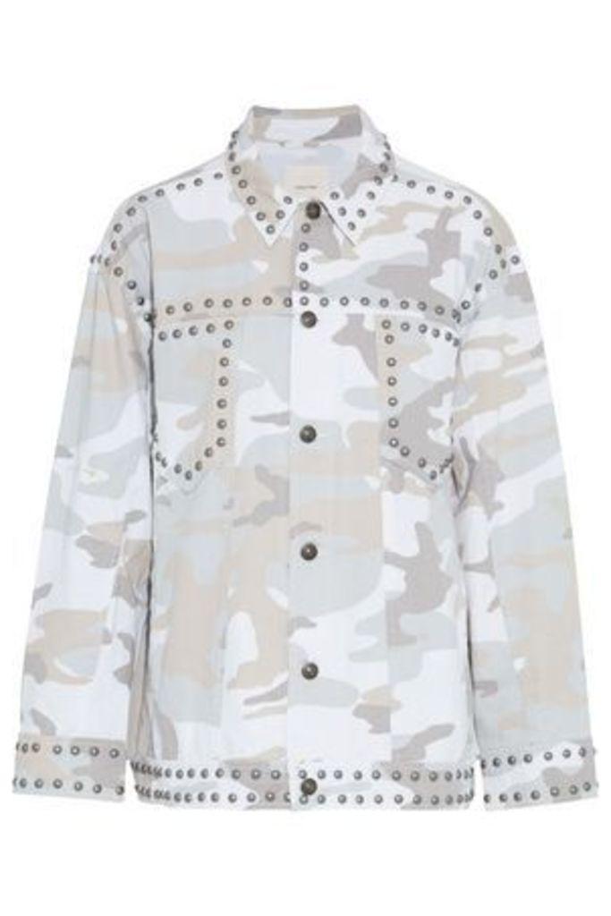 Cinq À Sept Woman Chiara Studded Printed Denim Jacket Off-white Size M