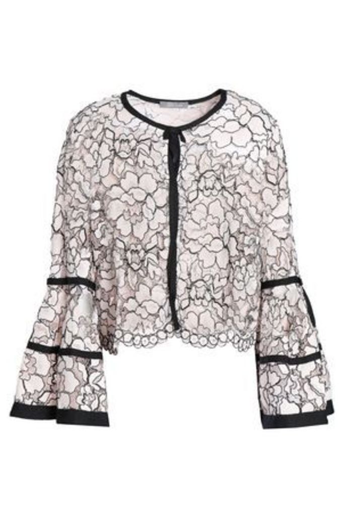 Lela Rose Woman Fluted Corded Lace Jacket Pastel Pink Size 10