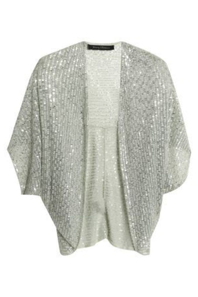Jenny Packham Woman Sequined Tulle Jacket Grey Green Size M