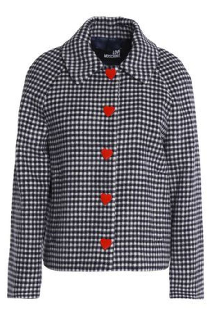 Love Moschino Woman Gingham Wool-blend Jacket Blue Size 38