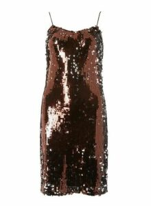 Womens **Tall Chocolate Brown Sequin Slip Dress- Brown, Brown