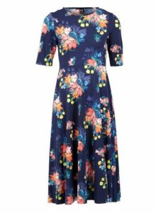 Womens *Izabel London Navy Floral Print Midi Fit And Flare Dress- Navy, Navy